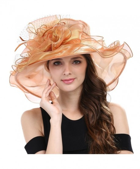 Janey&Rubbins Women's Kentucky Derby Racing Horse Hat Church Wedding Dress Party Occasion Cap - Dark Orange - CQ126XPNJP5