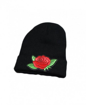 Embroidered Rose Knit Hat Winter Ski Skullcap Top Hat Black Elastic Beanie for Men & Women - Black 1 - C1186G6X9ZU