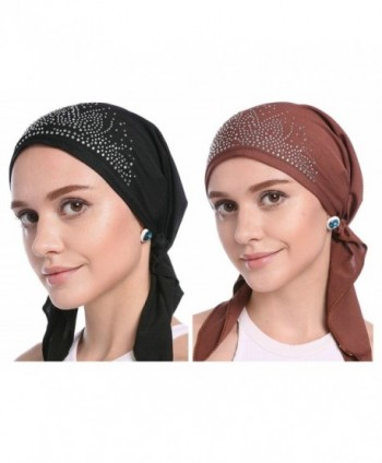 YI HENG MEI Women's Elegant Strench Drill Muslim Turban Hat Chemo Cancer Cap Headscarf - Black+coffee - CY184Q7KQXM
