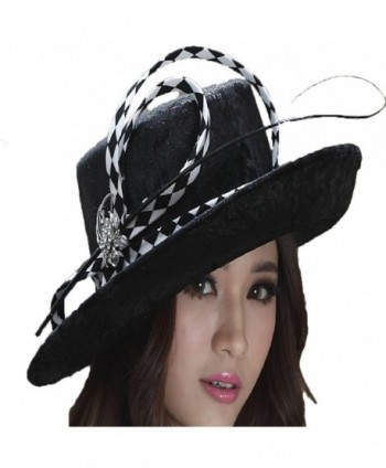 June's Young Woman Black Hats Feather Wide up Brim Leather Made - C111IFE0B3V
