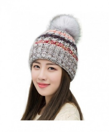 Ypser Women's Winter Slouchy Knitted Hat Fleece Lined Cable Faux Fur Pom Beanie Hat - Grey - CR12NTOALC3