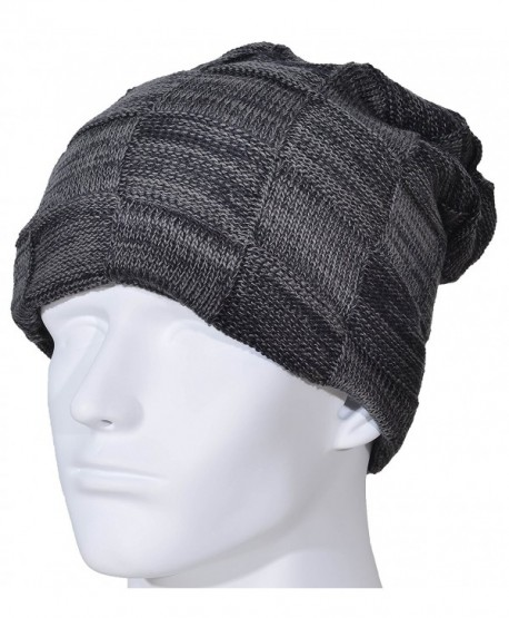 Yuhan Pretty Men Beanie Hat Winter Warm Wool Knit Slouchy Fleece Lined Skull Cap - Black - CI189LHU89U