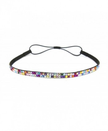 SIZZLE CITY Custom Color Bling Shimmering Rhinestone Elastic Stretch Headbands - Thin Rainbow - CB11JAY3HP3
