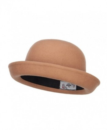 Wool Felt Upturn Brim Bowler Hat - Tan - CT1208E6H3D