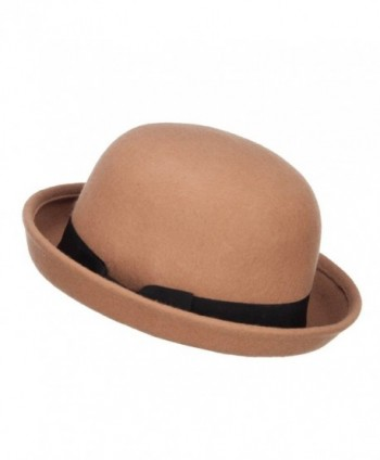 bcd4d14061d Wool Felt Upturn Brim Bowler Hat - Tan - CT1208E6H3D  Wool Felt Upturn Brim  Bowler ...