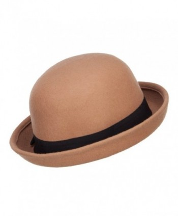 Wool Felt Upturn Brim Bowler in Women's Fedoras