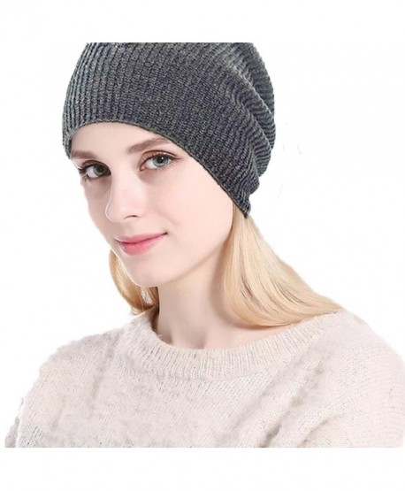 LAOWWO Warm Winter Slouchy Beanie Unisex Soft Fleece Lined Thick Knit Skull Cap - Gray - CP189KETKMW