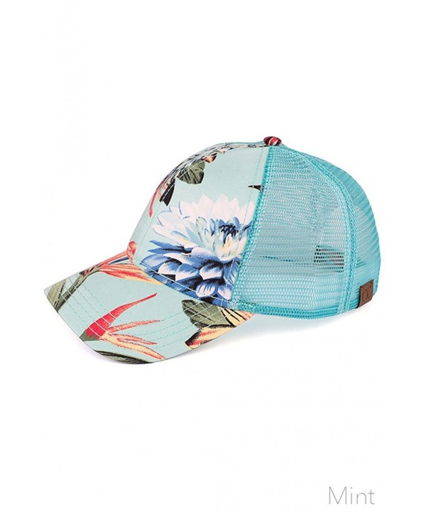 ScarvesMe C.C Premium Cotton Fitted Floral Print Trucker Baseball Cap - Mint - CH12O37YKND