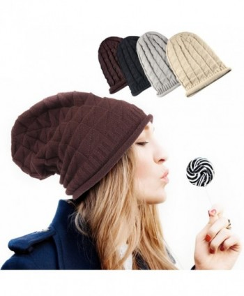 Zodaca Unisex Thick Slouchy Oversized Knitted Beanie Hat Plain Braided Baggy Cap - Brown - CU12NSOKDGC