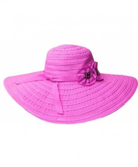 a51256c5fb3 Sakkas Women s Ribbon Paper Straw UPF 50+ Wide Brim Floppy Hat - Pink -  CI11E319S0H