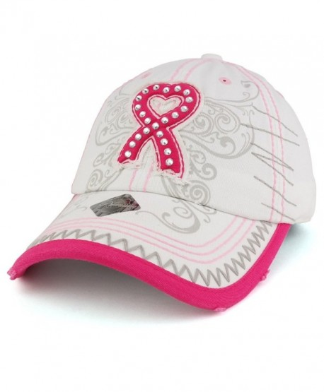 Trendy Apparel Shop Breast Cancer 3D Pink Ribbon Embroidered Cotton Baseball  Cap With Cubic Studs - 2a782c2205b0