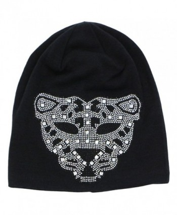 Hiloving Summer Oversized Slouchy Cotton Rhinestone Leopard Beanie Hat For Women - Black - C412HSRZBUD