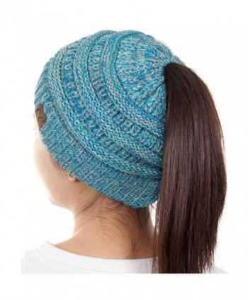 ScarvesMe C.C Beanietail Ponytail Messy Bun Solid Ribbed Beanie Hat Cap - 4 Tone 15 - CS187GC8DUD