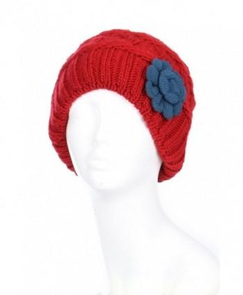 BSB Burgundy Beanie Winter Fleece - Burgundy Red With Blue Flower - CQ12MATOZC3