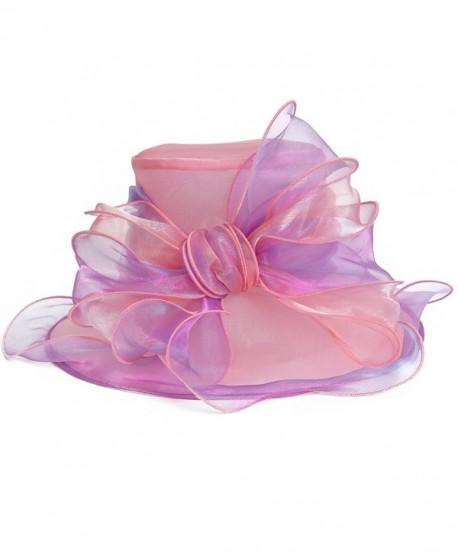 Women's Church Derby Kentucky Wide Brim Sun Hat S039 - Light Pink with Light Purple - CD12BG29PE9