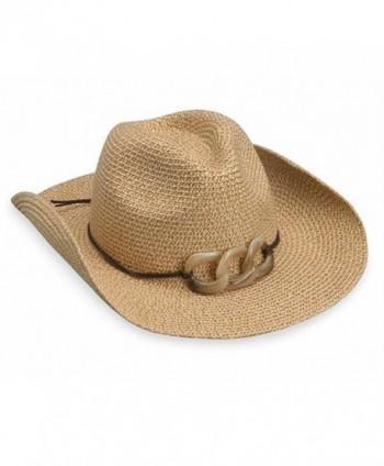 wallaroo Women's Sierra Sun Hat - 100% Paper Braid Cowboy Hat - UPF50+ - Natural - C011KPN0WAV