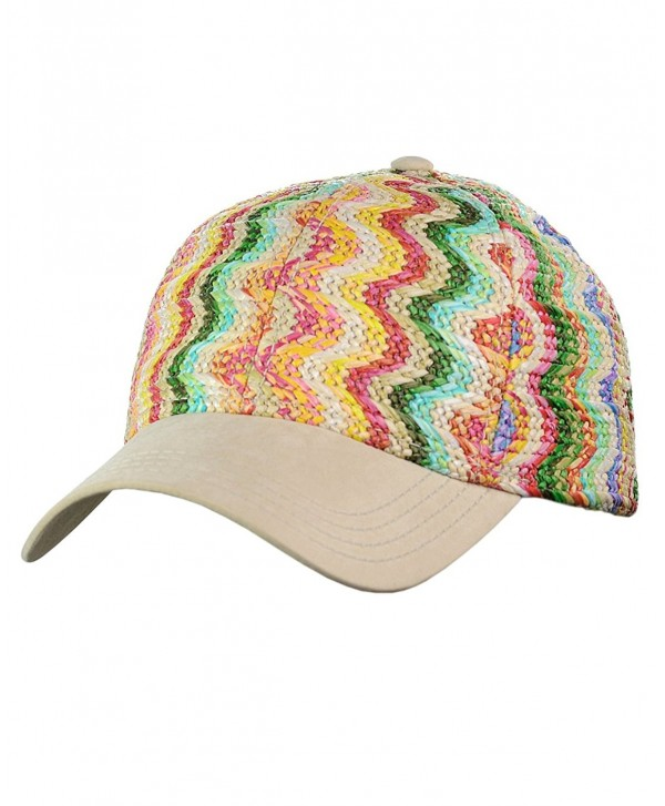 C.C Multicolored Paper Straw Weaved Adjustable Precurved Baseball Cap Hat - Sunshine - CA17XWDNU4D