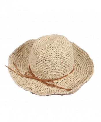 Yonger Womengilrs Floppy Summer Sun Straw Hats Hollow Pure Colour Hat with Big Bowknot() - Bule - CO182T345Q8