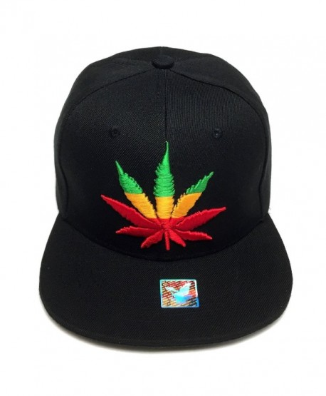 Marijuana Weed Snapback Kush Leaf Embroidered Men's Adjustable Baseball Cap Hat - All Black/Rainbow - CU183XNOYTG
