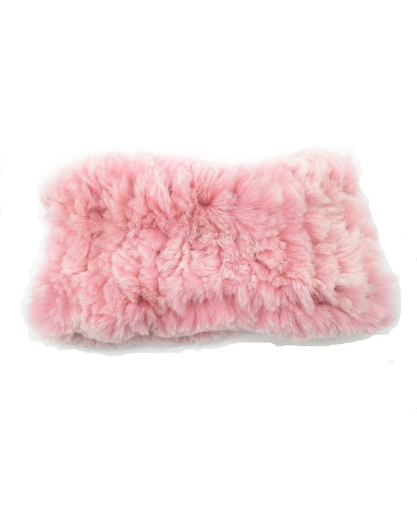 ERaBLe(TM) Women Winter Cold weather Rex Rabbit Fur Knitted Headbands 4 colors - Pink - C1183S4Q7XW