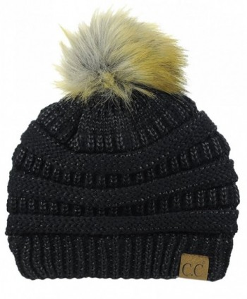 NYFASHION101 Exclusive Soft Stretch Cable Knit Faux Fur Pom Pom Beanie Hat - Black Metallic - CI1875CXRQ2
