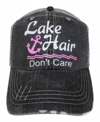 a1e835ad8e664 Glitter Lake Hair Don t Care Distressed Look Grey Trucker Cap Hat - White