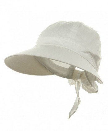 90529bce42a1c4 Ladies White Wide Brim Cotton Garden Beach Hat w/ Tie Back - CU11RBPZ10N