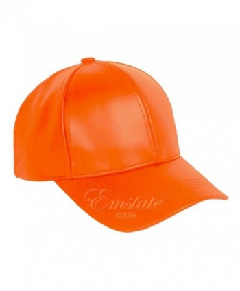 Emstate Genuine Cowhide Leather Baseball Cap Various Colors Made in USA Velcro Back - Orange - CH1839DLOUG