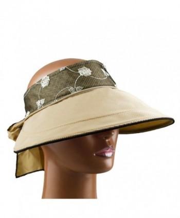b456c6023 Womens Wide Large Brim Sun Hat 2 in 1 Golf Tennis Beach Visor Cap - Khaki -  CF12HKGRRFJ