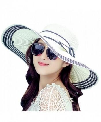 Elufly Womens Floppy Foldable Sunscreen - Black - C912HL29CYV