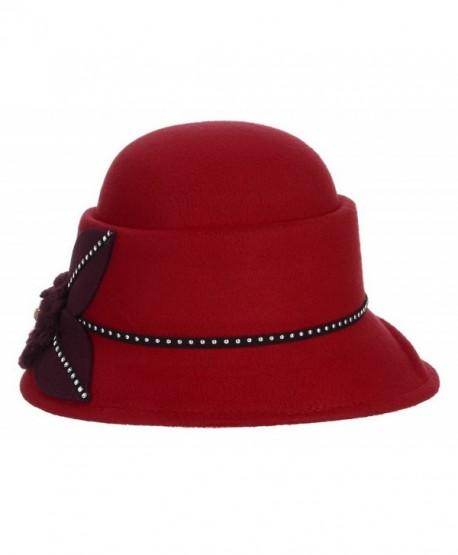 Jelord Women Winter Flower Wool Felt Cloche Bucket Bowler Hat - Red -  CR186W550ZR ec7e901f7161