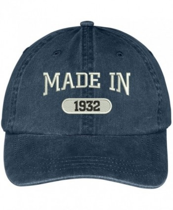 Trendy Apparel Shop 86th Birthday - Made In 1932 Embroidered Low Profile Washed Cotton Baseball Cap - Navy - C412GZC1ZPH