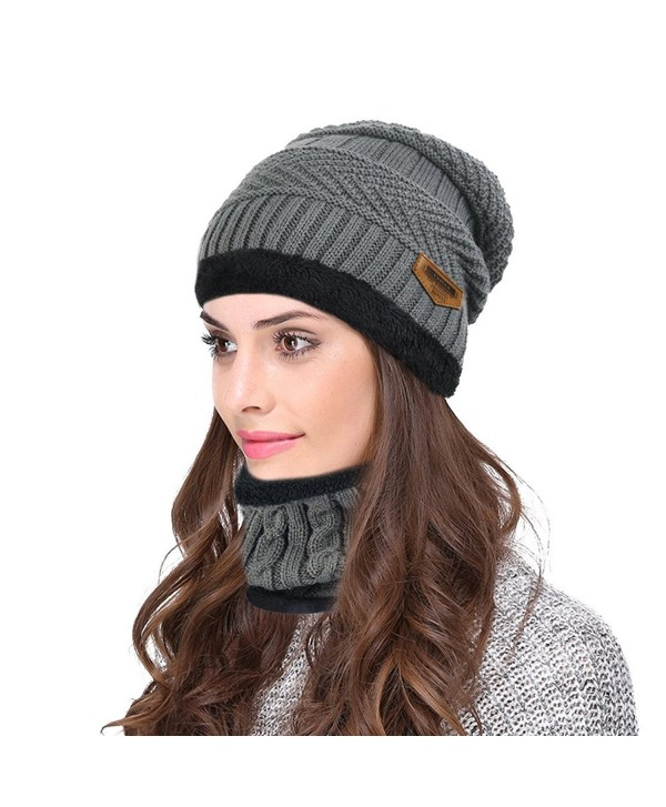 Hellofuture Beanie Hat Skull Cap Warm Knit Hat Scarf Set For Men and Women Christmas Gift Set - Dark Gray - CO186RMHCQS