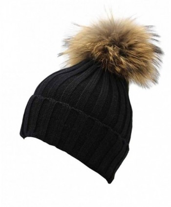Gellwhu Women Winter Real Fur Pom Pom Knit Slouchy Beanie Hat for Men Girls Boys - Black - CQ128I32SON