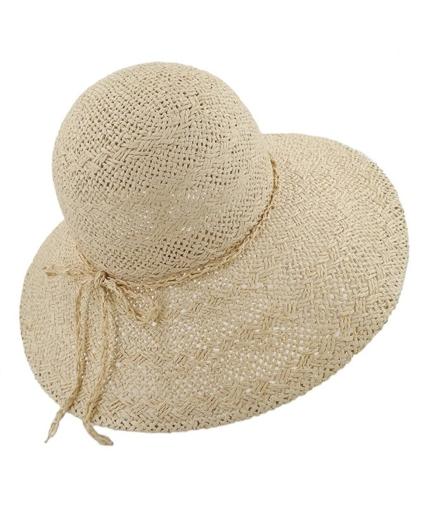 lethmik Womens Summer Straw Hat Wide Brim Hand Woven Foldable Beach Floppy Sun Hat - Beige - CG17YYDNWH6