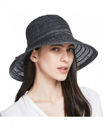 ENJOYFUR Women's Sun Hat Summer Beach Foldable Hat With Adjustable Rope UPF50+ Floppy - Black - CA1822I4OC0
