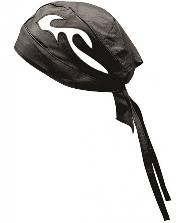 Riparo Unisex Leather Motorcycle Head Wrap and Skull Cap - Black/White - CL1854Y9K0L