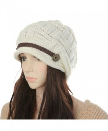 KingBra Women Winter Knit Hat - Girls Warm Thick Slouchy Knit Hat Snow Ski Caps - White - CW188Q6WXXT