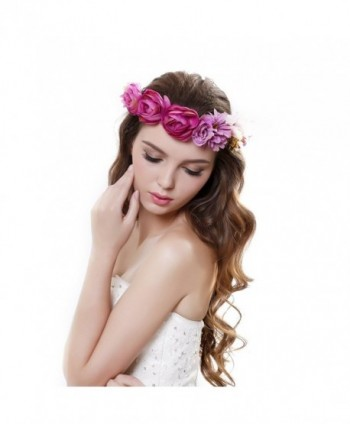 Beautiful Women Rose Flower Crown Garland Headband with Adjustable Ribbon - Purple - CJ12GGQF0V7