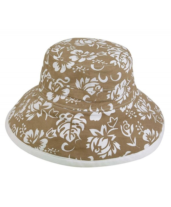 Womens New Floral Bucket Hat Cotton Canvas Reversible Sun Hat - Khaki - CY119512RQH