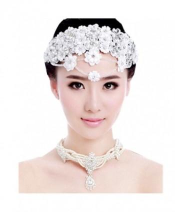Wiipu Bride Diaries lace headpieces white flowers wedding hair accessories headdress(A1204) - CH186452TH2