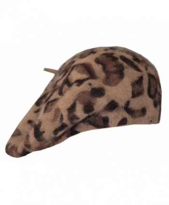 "Angela & William Leopard Angora Beret Cap Hat 10.5"" - Khaki - C618027IX7K"