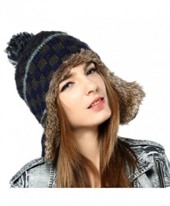 Kenmont Women Winter Cute Faux Fur Thicken Acrylic Knit Earflap Hat Beanie Cap (Navy Blue) - C9185SHY2SN