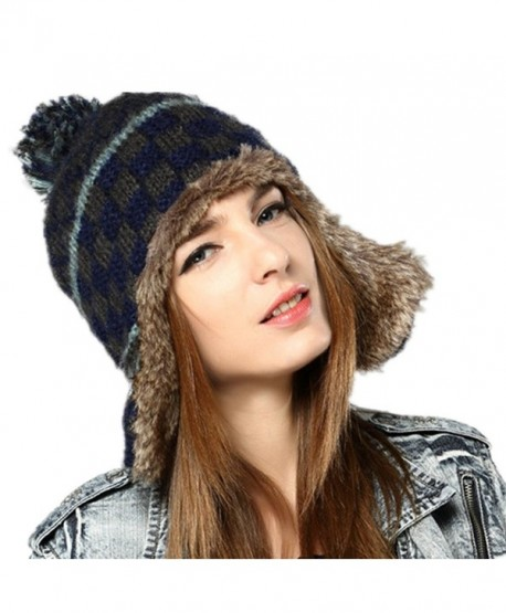 Kenmont Women Winter Cute Faux Fur Thicken Acrylic Knit Earflap Hat Beanie  Cap (Navy Blue 808d1cc1adc1