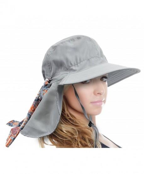 217e9e367 Women's Safari Sun Hat with Neck Flap Large Brim Packable Summer Beach  Fishing Cap - Grey - CO1889GRDCC