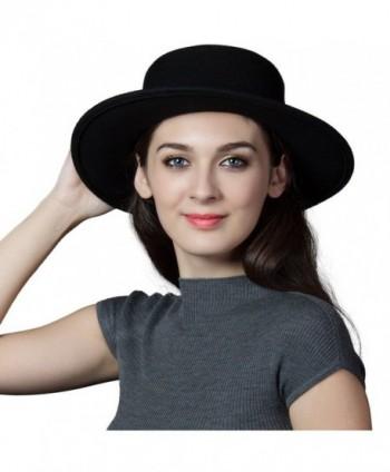 SIGGI Womens 100% Wool Felt Fedora Hat Wide Brim Classic Pork Pie Hat Colors - 88350_black - C112MZTOAMU