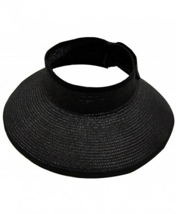 AbbyLexi Womens UV Sun Protective Roll-Up Summer Visor Straw Hat - Black - C31803W3WIM