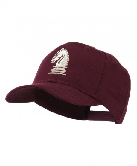 Chess Piece of a Knight Embroidered Cap - Maroon - CW11HVOBBUN
