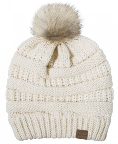 49f9053b310 Fasker Womens CC Style Beanie Hat Winter Cable Knit Slouchy Pom Pom Beanie  Hat - A