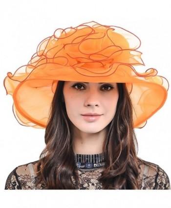 HISSHE Womens Organza Church Dress Derby Wedding Floral Tea Party Hat S09 - Orange - CS17Y0C99W7